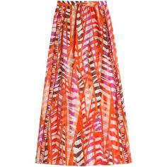 Emilio Pucci Printed Silk Chiffon Sarong (21.560 RUB) ❤ liked on Polyvore featuring skirts, swimsuit, orange and emilio pucci