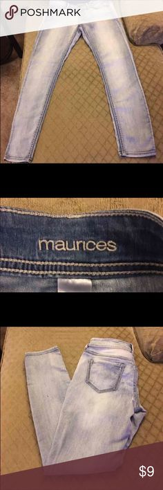 👖 size 7/8 Maurice's 👖 jeans 👖Light colored stretch denim Maurice's jeans size 7/8. 👖Stretch for comfort but true to size. 👖Skinny leg👖Like new condition👖 Maurices Jeans Skinny