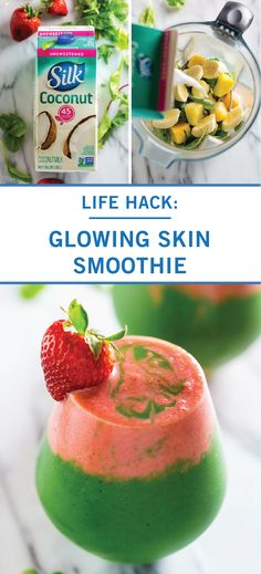 This Glowing Skin Smoothie is one breakfast recipe that your body will thank you for. Coconut milk pineapple mango spinach kale bananas strawberries honey and turmeric powder come together to add plenty of healthy nutrients to this tasty drink. Strawberry Kale Smoothie, Mango Spinach Smoothie, Mango Pineapple Smoothie, Coconut Milk Smoothie, Smoothies With Almond Milk, Strawberry Spinach, Avocado Smoothie, Easy Smoothie Recipes, Healthy Smoothies
