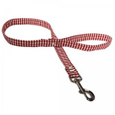 Red Gingham Fabric Dog Lead