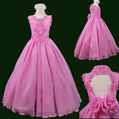 b2355df19 NEW Teens Girls National Pageant Wedding Dance Long Dress Sz Fuchsia Pink