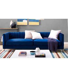 Blue Velvet Pleated Low Back Sofa Acrylic Legs