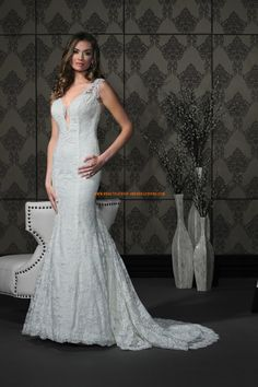 Meerjungfrau Glamouröse Schöne Brautkleider aus Spitze mit Schleppe