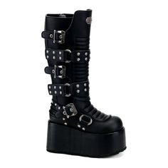 4 Inch Wedge Boots MENS SIZING Gothic Knee Boots Studs Buckles Size: 8 by UnknownTake for me to see 4 Inch Wedge Boots ME