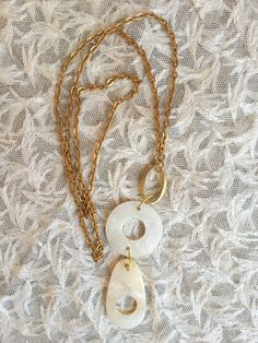 Ivory-Look Circles Drop Necklace by ClayRoadRepurposed on Etsy https://www.etsy.com/listing/261205876/ivory-look-circles-drop-necklace