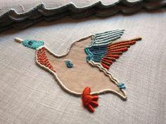 WILD DUCK Vintage Marghab 12 COCKTAIL NAPKINS Madeira Hand Embroidery Linen #Marghab Ecru Color, Cocktail Napkins, Baby Items, Hand Embroidery, Pattern Design, Cocktails, Delicate, Kids Rugs, Linens