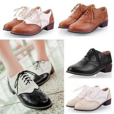 Hot Vintage Womens Low Flat Heels Shoes Lace Up Brogues Girls College Oxford Nc