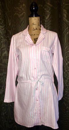 Victoria's Secret The Dreamer Cotton Flannel Pajama Long Sleep Shirt Drawstring #VictoriasSecret #Sleepshirt