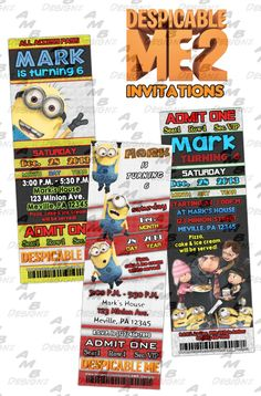 """Despicable Me 2 ticket Invitations & matching Party Supplies available .This ticket style invitation in the Despicable Me 2 party theme will """"WOW"""" your party guests. Customized just for you; party supplies to match are available. Custom Party Invitations, Ticket Invitation, Party Plates, Party Cups, Diy Party, Party Ideas, Disney Scrapbook, Party Guests, Design Styles"""