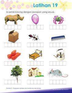 Kindergarten Reading Corner, Free Kindergarten Worksheets, Preschool Writing, Preschool Learning Activities, Reading Worksheets, Kids Homework, Math For Kids, Malay Language, Flashcard