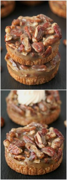 These mini caramel pecan tarts have a grain-free and gluten-free crust and an easy no-bake caramel pecan filling! Such a great healthy recipe idea if you're a fan of paleo desserts! Gluten Free Sweets, Gluten Free Baking, Gluten Free Recipes, Just Desserts, Delicious Desserts, Yummy Food, Caramel Pecan, Toffee, Paleo Dessert