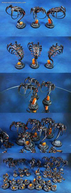 Warhammer 40k metallic necron canoptek wraiths with orange crystals basing