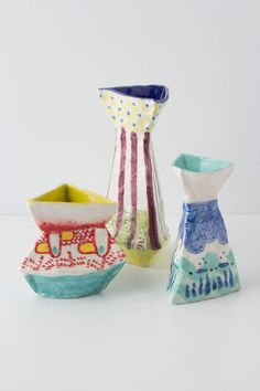 hand-painted trilogy vases