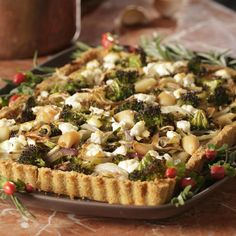 Roasted Fall Vegetables in Cheddar Crust, Recipe. This tart starts with a Cheddar cheese crust that's filled with roasted leeks, fennel and broccoli or Brussels sprouts. Beets or cauliflower would stand in beautifully too. Easy Broccoli Recipes, Sprout Recipes, Vegetable Recipes, Vegetarian Recipes, Healthy Recipes, Healthy Food, Healthy Dinners, Healthy Eating, Yummy Recipes