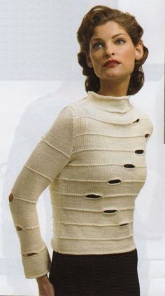 Zara Diagonal Slit Pullover pattern - might be able to pull this off with a serger and reclaimed sweaters. :)
