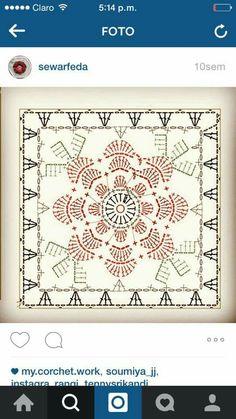 Kwadraty Crochet Wool, Crochet Blocks, Crochet Squares, Crochet Granny, Crochet Motif, Diy Crochet, Crochet Patterns, Granny Squares, Crochet Stitches