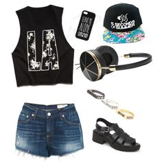 A fashion look from March 2015 featuring Forever 21 t-shirts, rag & bone shorts and MIA sandals. Browse and shop related looks.