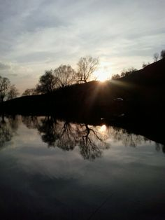 Sunset on the Olt river