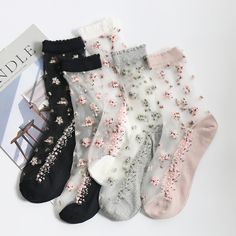 Transparent Flower Ankle Socks Colours) Pretty sheer socks with scattered flower pattern! Available in five different colours, will fit up to a size Sheer Socks, Women's Socks & Hosiery, Cute Socks, My Socks, Crazy Socks, Happy Socks, Fashion Socks, Fashion Outfits, Womens Fashion