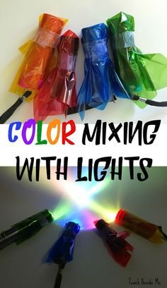 Color Mixing with Lights with a printable worksheet set! This is an easy STEM experiment that combines science and technology. Do you know the primary colors of light?