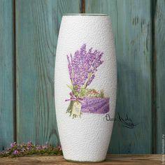 Купить Ваза для цветов Лаванда, ваза ручной работы для интерьера - ваза, ваза для цветов