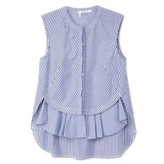 Pastel Trend: 10 Crosby Derek Lam Blue Striped Front Ruffle Top: