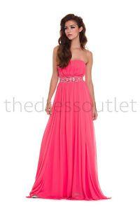 Elegant Strapless Chiffon Full Length Bridesmaid Fun Summery Formal Prom Dress | eBay