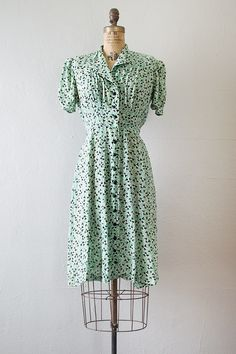 vintage 1930s mint green black print day dress