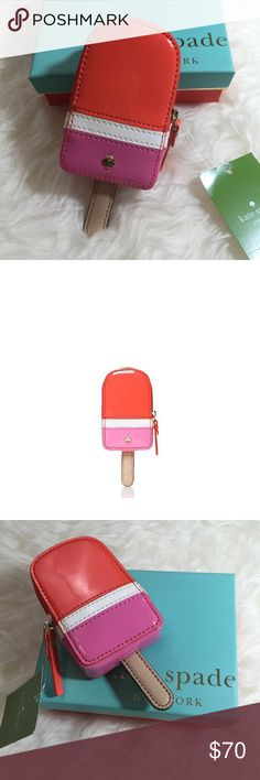Kate Spade Ice Pop Coin Purse Kate Spade ice pop coin purse. Patent PVC with smooth leather trim. 14 karat gold plated hardware. Coin purse with zip closure. Use for coins, receipts and credit cards. Rice firm. Multicolored. kate spade Accessories Key & Card Holders