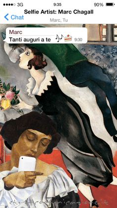 Selfie artist 25/99 dedicato a Marc Chagall (Mark Zacharovič Šagalov) Vitebsk, 7 luglio 1887 – Saint-Paul-de-Vence, 28 marzo 1985 #selfie #arte #selfieartist #Bella #Chagall #MarcChagall #Parigi #MoMA #CentrePompidou #NewYork #chat #whatsapp #social #socialnetwork #fotografia #MuseumSelfie