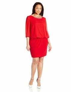 AGB Women's Plus-Size Blouson Sequin Neck Dress