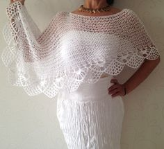 Hand knit poncho bridal poncho bridal capalet by Mrlworks Wedding Shrug, Wedding Cape, Bridal Cape, Poncho Shawl, Knitted Poncho, Crochet Scarves, Crochet Shawl, White Poncho, Crochet Gloves Pattern