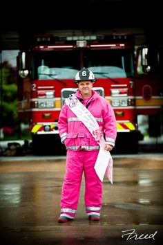 The Pink Fireman - Photo courtesy of Freed Photography in Bethesda, Maryland Breast Cancer Support, Breast Cancer Awareness, Bethesda Maryland, America's Finest, Cancer Fighter, Pink Things, Free Photography, Law Enforcement, Firefighter