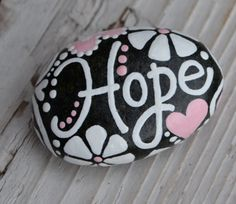 Giving You HOPE & JOY hope stone inspiration rock Hope Pebble Painting, Pebble Art, Stone Painting, Diy Painting, Hand Painted Rocks, Painted Stones, Painted Pebbles, Inspirational Rocks, Rock Painting Designs