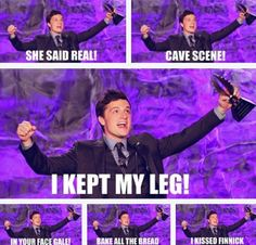 Award Show Peeta! I still laugh at the last one where Finnick gives Peeta CPR! And why does Peeta keep his leg anyways? I dunno.