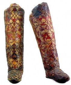 A pair of 16th century Persian Ottoman boots with exquisite tooling.