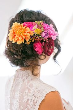 brightly colored floral bridal headpiece ~  we ❤ this! moncheribridals.com