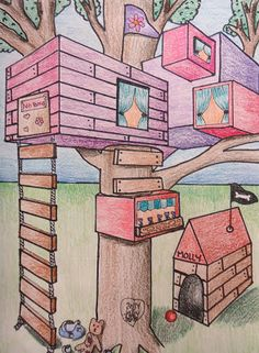 Mini Matisse: Student Samples of the Two Point Perspective Tree House Middle School Art Projects, High School Art, 7th Grade Art, Grade 2, Perspective Art, Ecole Art, Drawing Projects, Wow Art, Elements Of Art