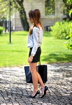 Soft grey knit + leather skirt = classic basic pieces... so simple but still cool