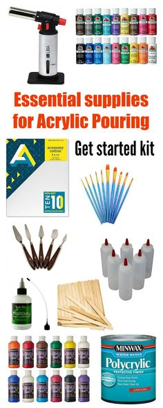 Supplies You Need to Get Started With Acrylic Pouring (Beginner Checklist) Essential basic supplies needed to begin your exciting new hobby for acrylic pouring painting. Beginners should read this and get all the right supplies for acrylic pouring. Acrylic Pouring Techniques, Acrylic Pouring Art, Acrylic Art, Flow Painting, Pour Painting, Diy Painting, Painting Gallery, Art Painting Supplies, Resin Art Supplies