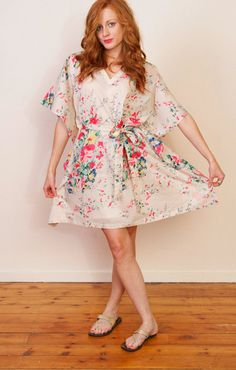 CORAL SPRAYS Cotton kaftan dress in floral print by SingingSlowly, $35.00