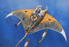Manta Rescue Drone Manta's serve as autonomous ocean rescue platforms and transports. They are deployed off shore near public recreation areas, areas with high boating activity, or are stored aboard large sea vessels to be deployed as needed. Manta's. Zoids, Art Science Fiction, Robot Animal, Robot Concept Art, Steampunk, Sci Fi Art, Creature Design, Fantasy Creatures, Fantasy Art
