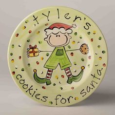personalized boy's cookies for santa plate by suzaluna on Etsy, $48.00