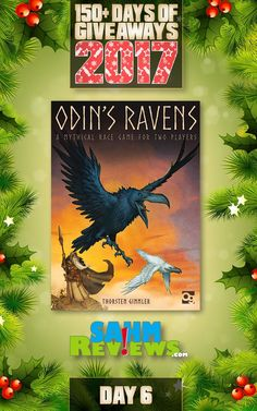 We're excited to be offering 150+ Days of Giveaways in conjunction with our Holiday Gift Guides.   One lucky SahmReviews.com winner will receive a copy of Osprey Games' Odin's Ravens (ARV $24)!