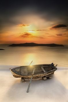 """♂ Ocean sunset old wooden boat """"Nostalgy"""" by Basheer Sheick-Yousif"""