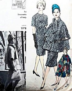 Vogue Couturier Design 1178 Simonetta Slim Dress and Flared Coat In 2 Lengths Fantastic High Couture Design Vintage Sewing Pattern Bust 31