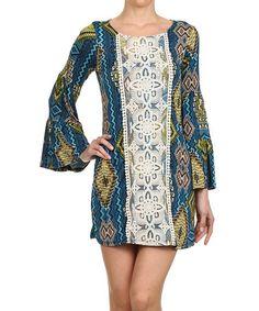 Look at this #zulilyfind! Blue & Green Diamond Crochet-Panel Dress by Vision #zulilyfinds 27<58