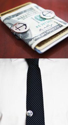 Anchor snaps. Use as money or tie clip.