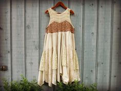 Lg. Country Lace Bohemian Upcycled Dress// by emmevielle on Etsy, $83.00