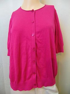 Ann Taylor Sweater 100% Pima Cotton Button Front 3/4 Sleeve Size XL #39 #AnnTaylor #Cardigan
